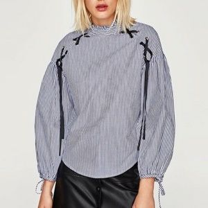 Zara Blue Striped Blouse With Tie Bows